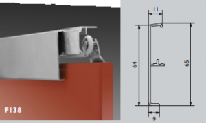 Klikkap aluminium geanodiseerd 2000m t.b.v. Husky Schuifdeurgarnituur plafond montage