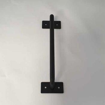Schuifdeurgreep rond klassiek zwart, 195 mm